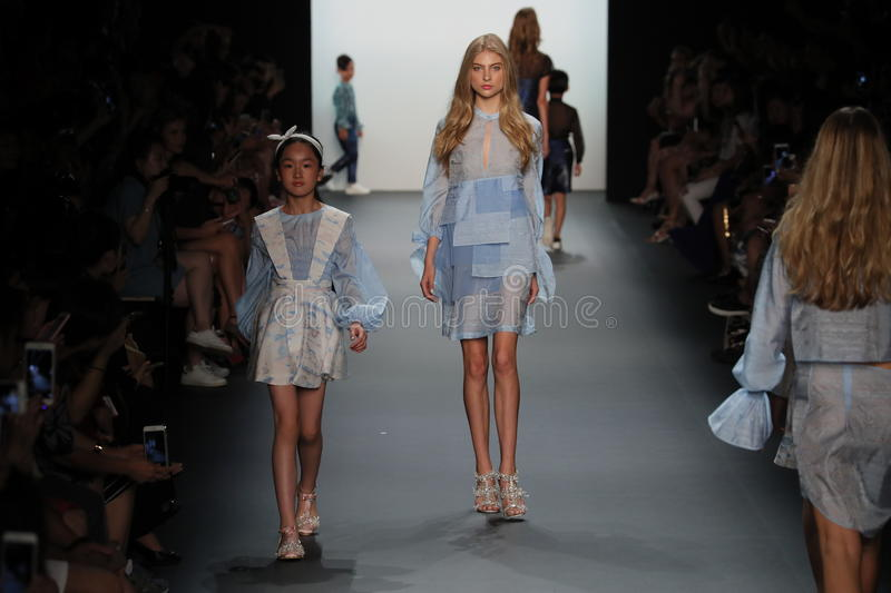 A model walks the runway at the Vicky Zhang Parent Child Collection S/S 2017. NEW YORK, NY - SEPTEMBER 10: A model walks the runway at the Vicky Zhang Parent stock photography