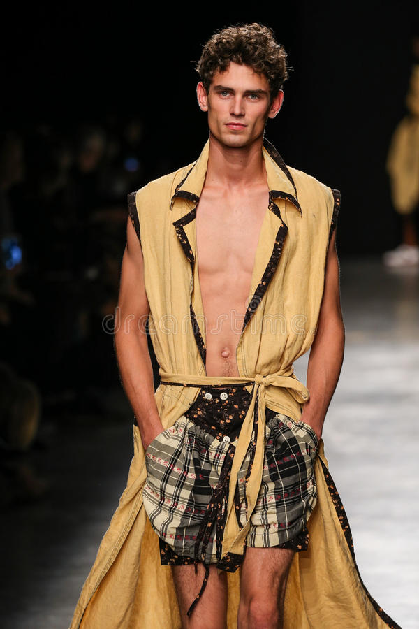 A model walks the runway during the Vivienne Westwood show as part of the Paris Fashion Week stock photos