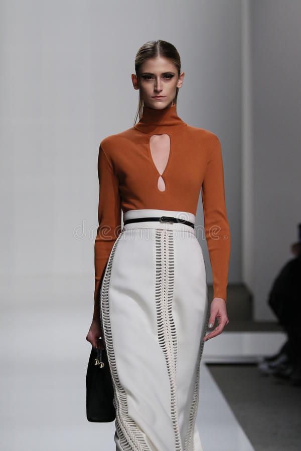A model walks the runway at Zimmermann fashion show during Mercedes-Benz Fashion Week Fall 2015. NEW YORK, NY - FEBRUARY 13: A model walks the runway at stock photography