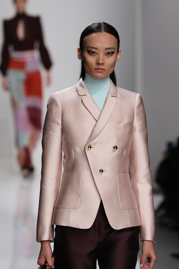 A model walks the runway at Zimmermann fashion show during Mercedes-Benz Fashion Week Fall 2015. NEW YORK, NY - FEBRUARY 13: A model walks the runway at stock photos