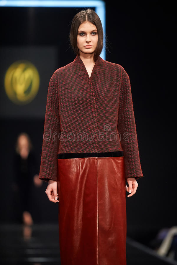 A model walks on the VALENTIN YUDASHKIN catwalk. Fall 2015. FASHION WEEK in MOSCOW. 25 March 2015, Moscow, Russia stock photo