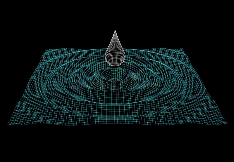 Model of water ripple with drop. Illustration of the meshy water ripple with drop vector illustration