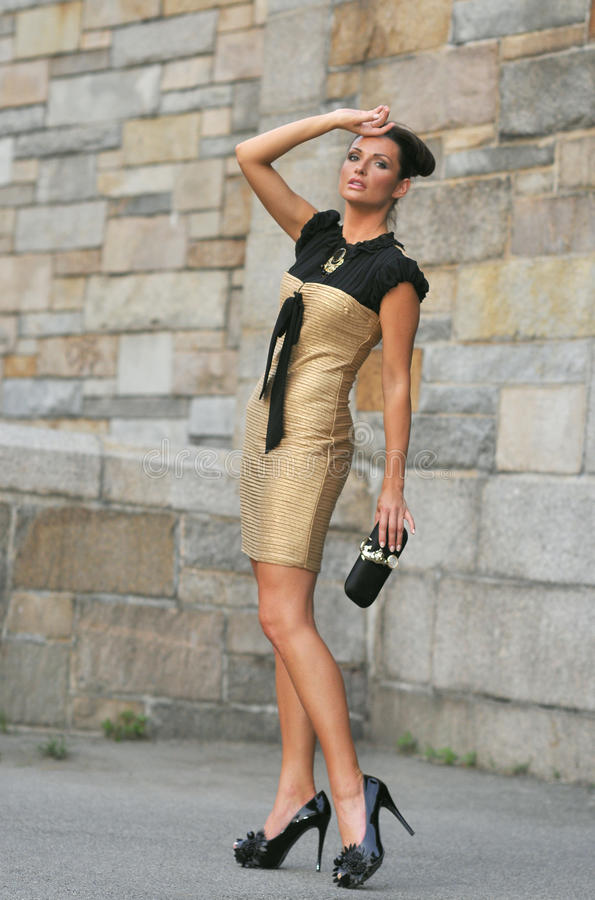 Model wearing couture dress and holding designers clutch. Elegant brunette model wearing couture dress and holding designers clutch posing outside stock photo
