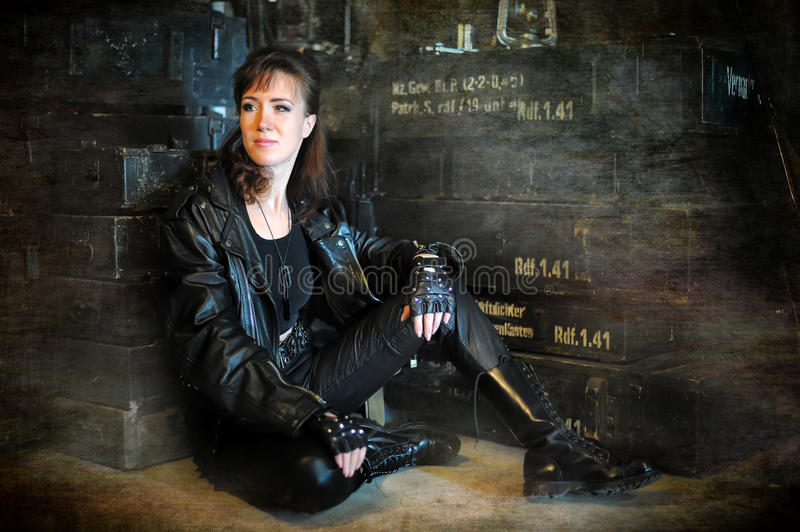 Model wearing leather pants and jacket stock images