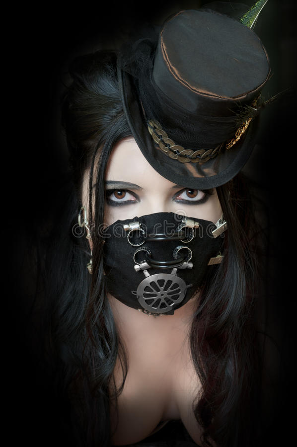 Model Wearing Steampunk Mask royalty free stock images
