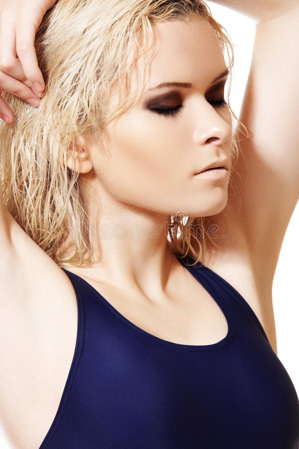 Model With Wet Blond Hair Dark Make Up Pale Skin Stock Photo Image Of Face Attractive 17459134