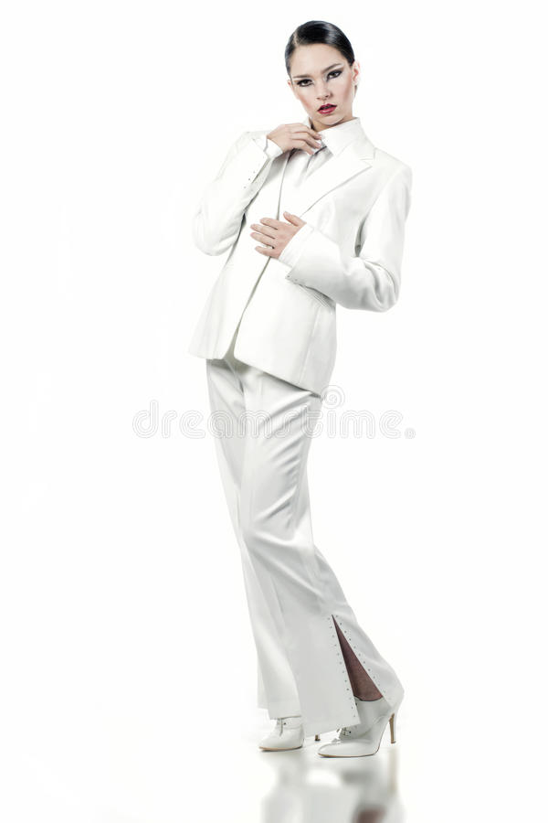 Download Model in white stock photo. Image of stare, model, girl - 28238068