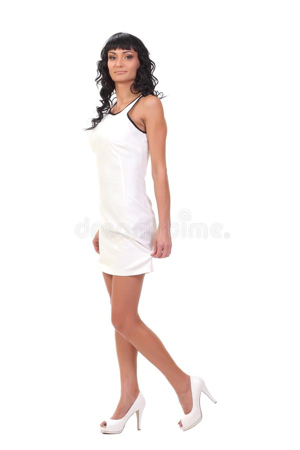 model in white dress royalty free stock images