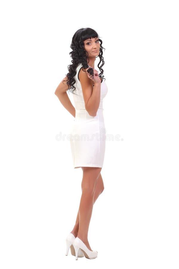 model in white dress stock photo