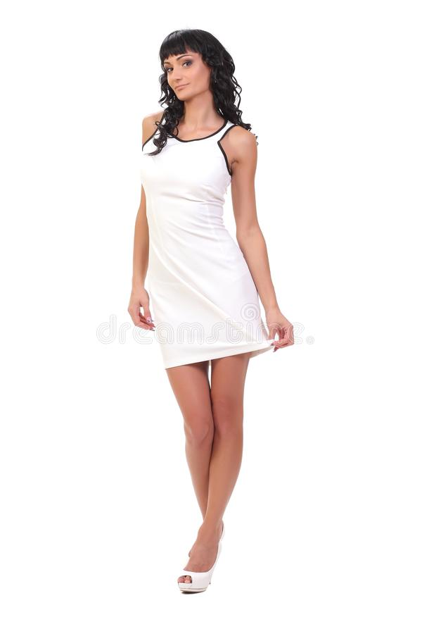 model in white dress stock photography