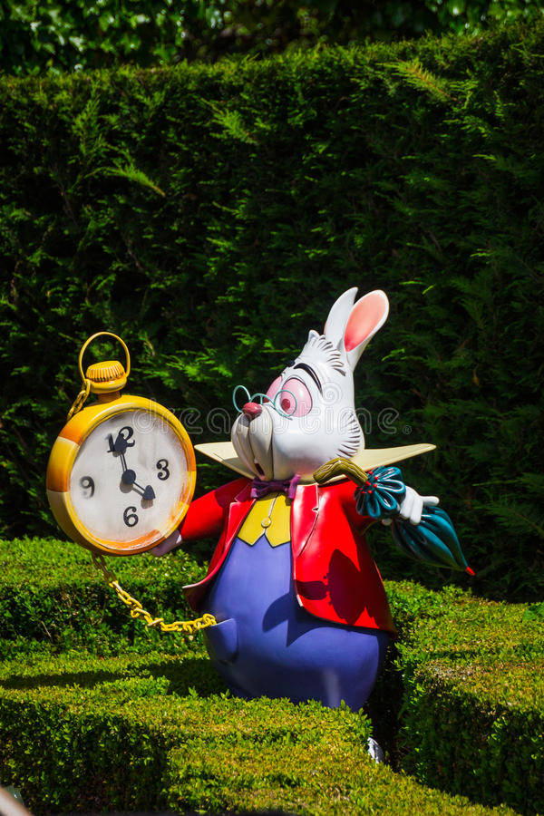 A model of the White Rabbit from Alice`s in Wonderland. In Alice`s Curious Labyrinth, Disneyland Paris stock photography
