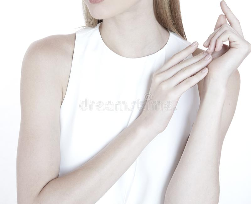 Model woman pose hand for jewelry health beauty clean nature royalty free stock image