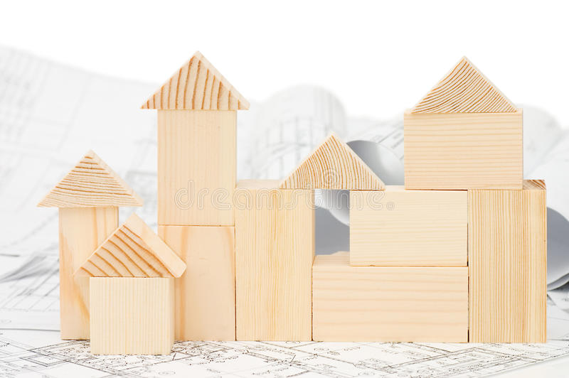 Model of the wooden house on the project. Still life stock photo