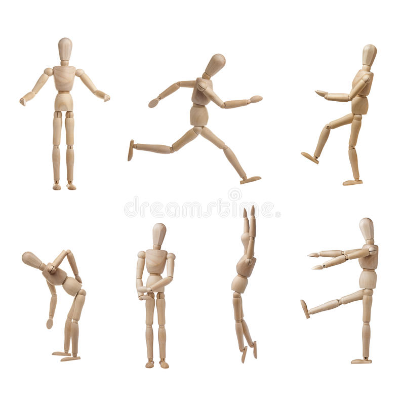 Model Wooden Mannequin Collection Poses Isolated stock image