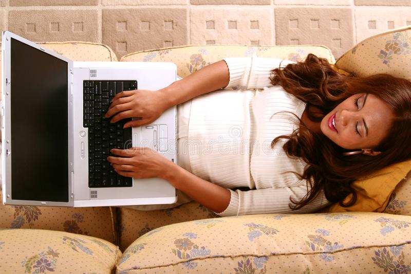 Model Working With Laptop In H royalty free stock photos