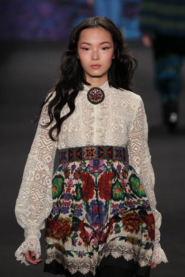 Model Xiao Wen Ju Walks The Runway At The Anna Sui Fashion