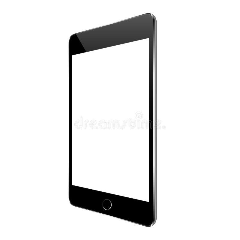 Model zwarte die tablet op wit ontwerp wordt geïsoleerd royalty-vrije illustratie