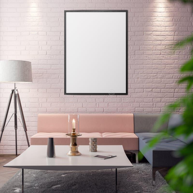 Modelaffiche in de binnenlandse, 3D illustratie van een modern ontwerp stock afbeeldingen