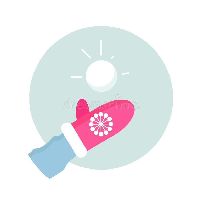 Modelagem dinâmica do caráter snowball entretenimento dos povos em esportes de inverno Faça a bola de neve Mitene cor-de-rosa fer ilustração stock