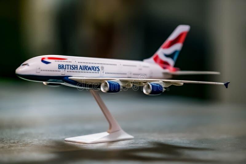 ModelAirplane van een Luchtbus A380, British Airways stock foto