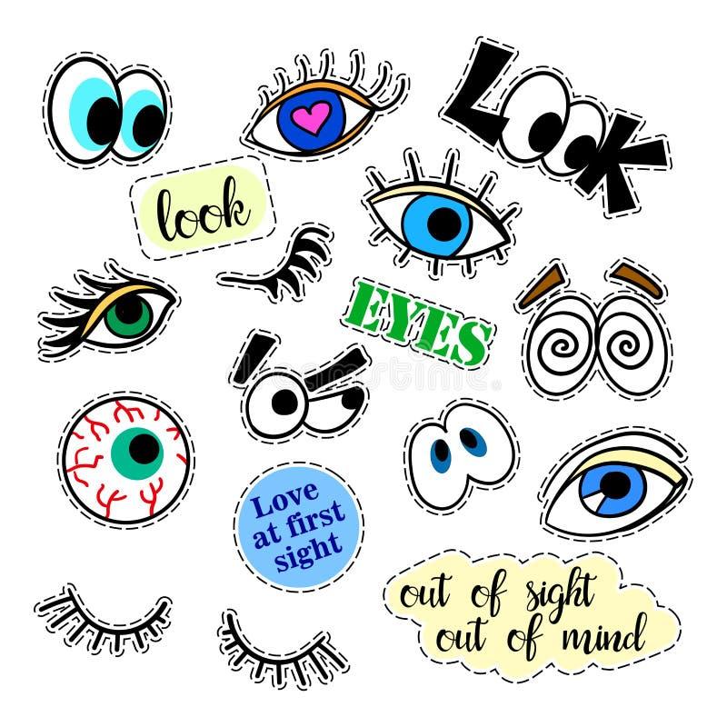 Modelappemblem inställda ögon klistermärkear, ben, lappar och handskriven anmärkningssamling i komisk stil för tecknad film 80s-9 vektor illustrationer