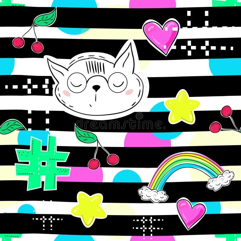 Modelappemblem skissar in komikerstil seamless abstrakt modell Hjärtor regnbåge, stjärna, katt andra beståndsdelar på upprepad st royaltyfri illustrationer