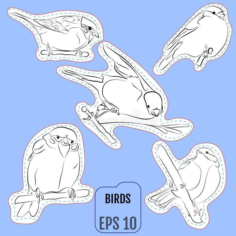 Modelappuppsättning, emblem med europeiska fåglar Denna illustration stock illustrationer