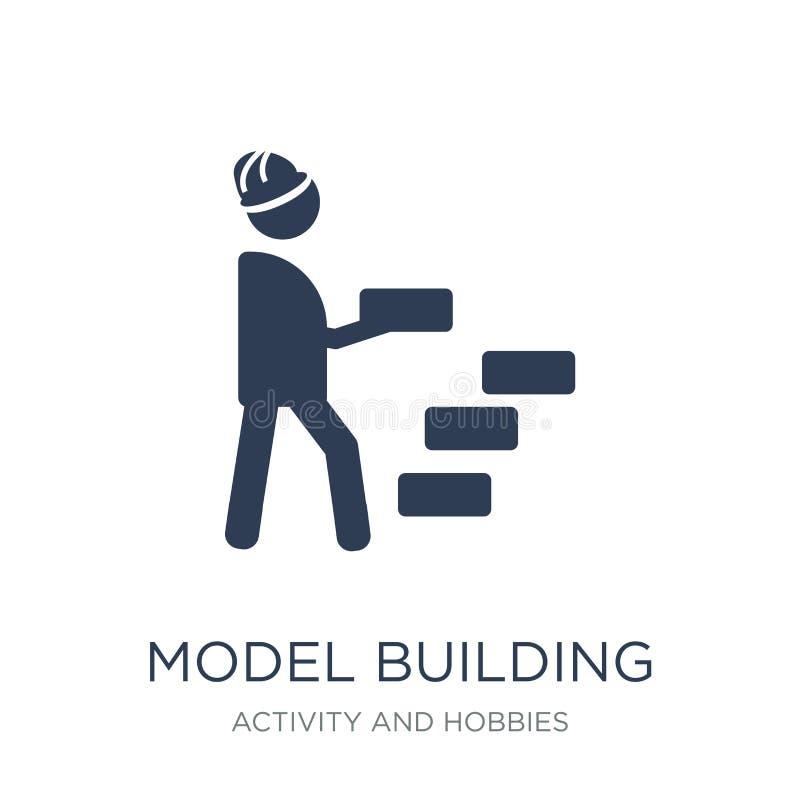 Modelbouwpictogram In vlak vectormodelbouwpictogram op w royalty-vrije illustratie