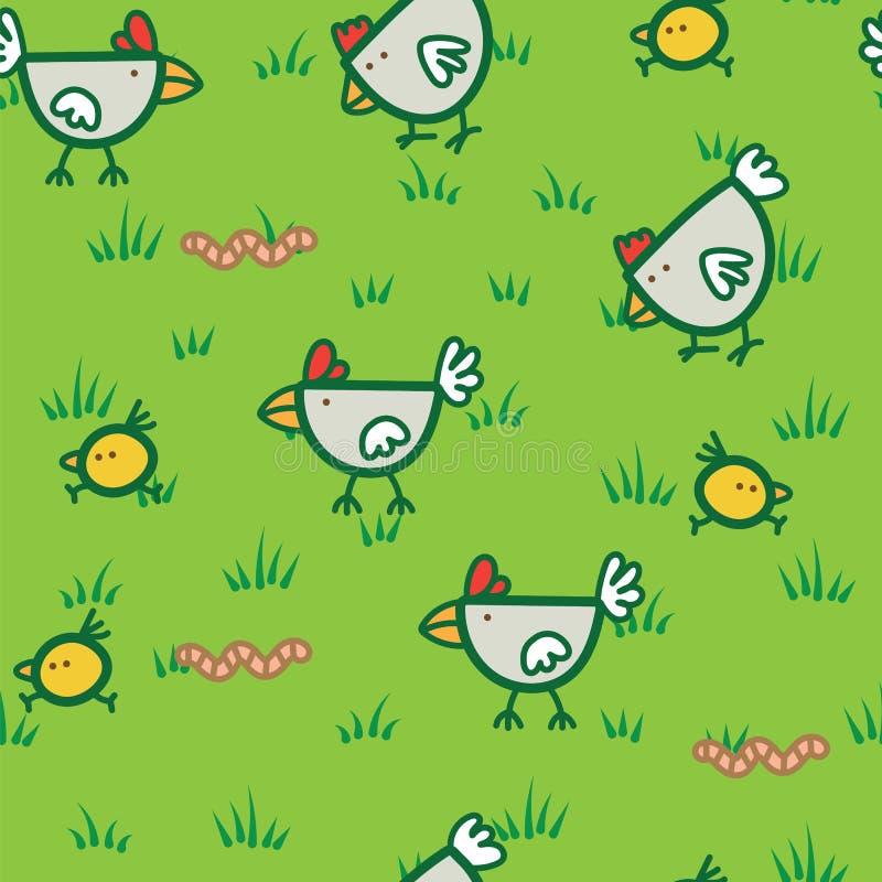 Modele as galinhas que andam na grama verde e que bicam o fundo dos sem-fins Fundo do teste padrão da galinha ilustração royalty free