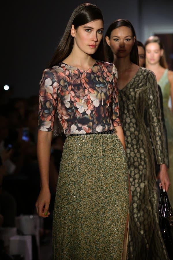 Modele chodzą pasa startowego finał przy Raul Penaranda pokazem mody obrazy royalty free