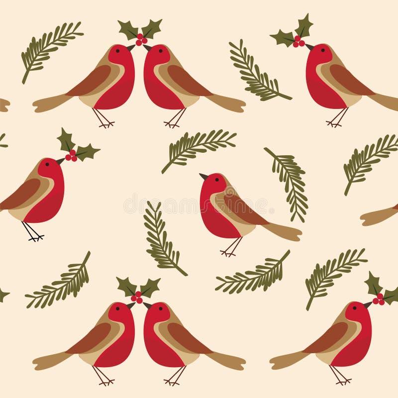 Modele com pisco de peito vermelho o pássaro folhas, bagas do azevinho ilustração stock