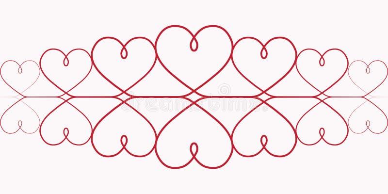 Modele corações um a lápis desenho contínuo de corações vermelhos no fundo branco, vinheta vermelha elegante, o teste padrão do e ilustração royalty free