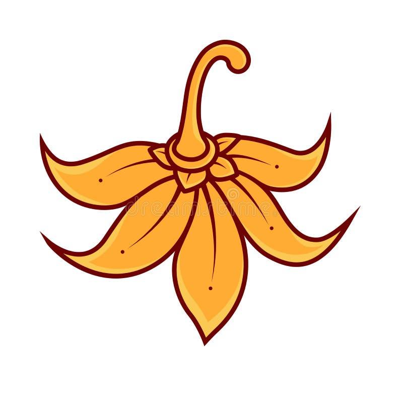 Modele el estilo tailandés, el papel pintado y la repetición de oro de la flor con el espacio de la copia aislado y que flota en  libre illustration