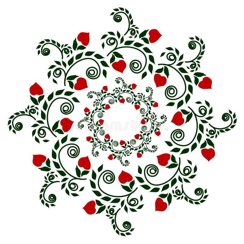 Modele el granate en color, bordado étnico de las plantas del estilo, dibujando stock de ilustración