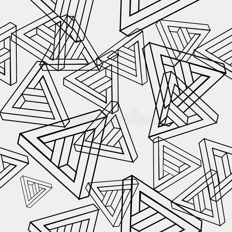 Modele el modelo minimalistic monocromático simple inconsútil geométrico de las formas imposibles, triángulos ilustración del vector