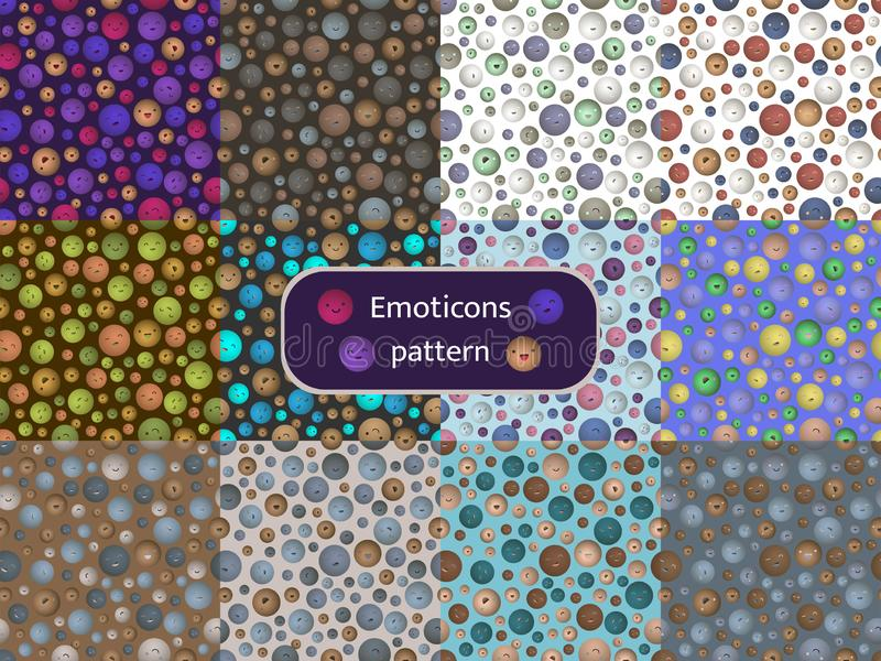 Modele el sistema 09 de modelos inconsútiles con la imagen de emoticons ilustración del vector
