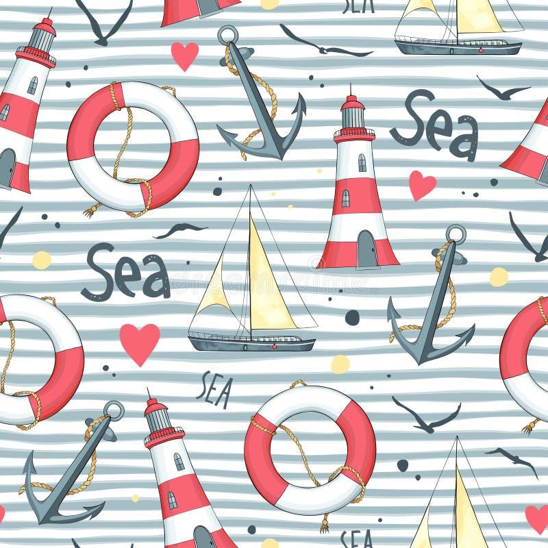 Modele el velero, salvavidas, ancla, faro libre illustration