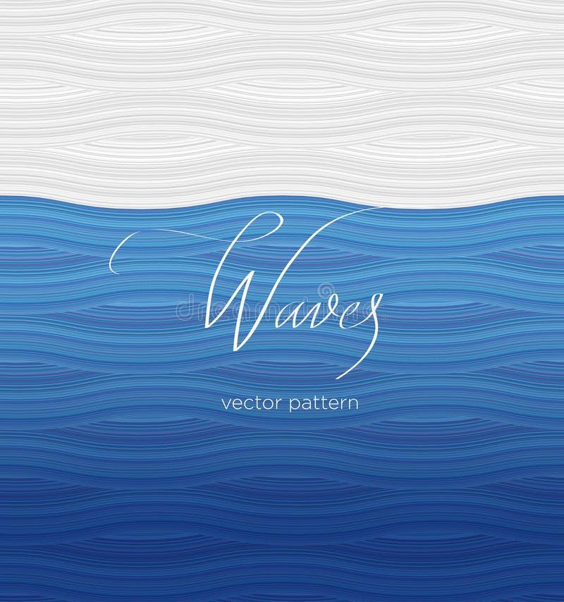 Modele las ondas del azul y blancas, caligrafía, poniendo letras fotografía de archivo