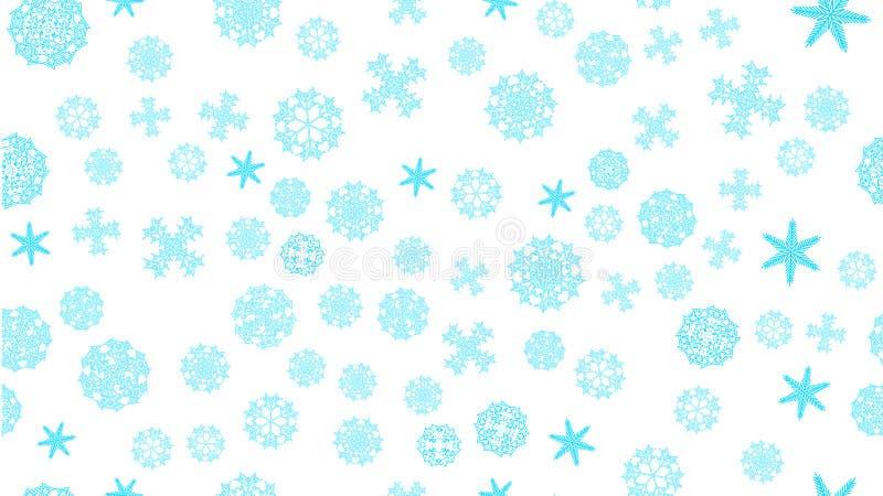 modele los copos de nieve tallados extracto festivo nevoso azul de la Navidad del invierno del marco de la textura en un fondo bl libre illustration