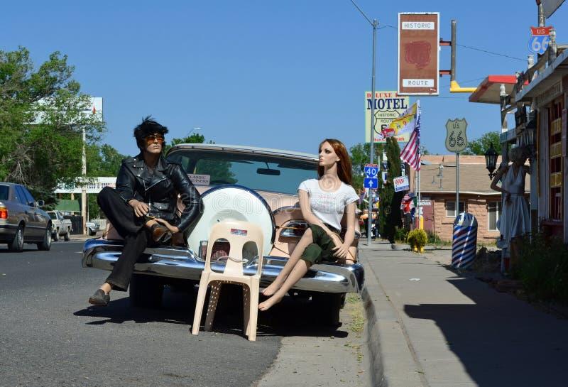 Modele na rocznika samochodzie - trasa 66, Seligman, usa fotografia royalty free