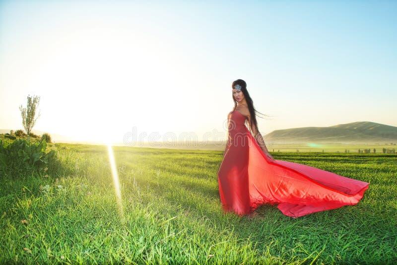 Modele no vestido vermelho que levanta no campo no por do sol fotografia de stock