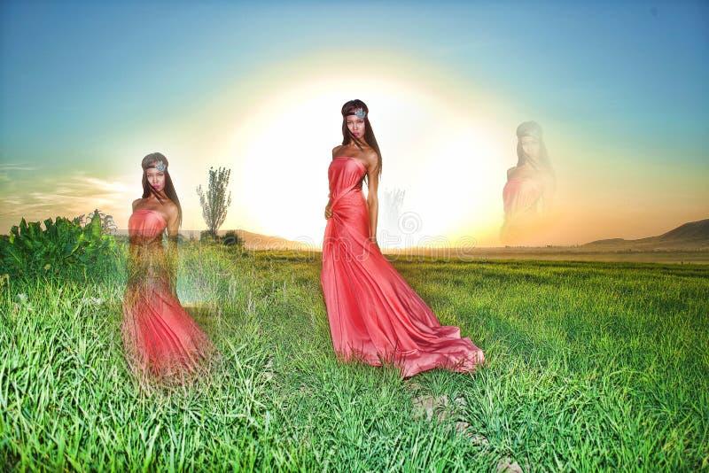Modele no vestido vermelho que levanta no campo no por do sol imagens de stock royalty free