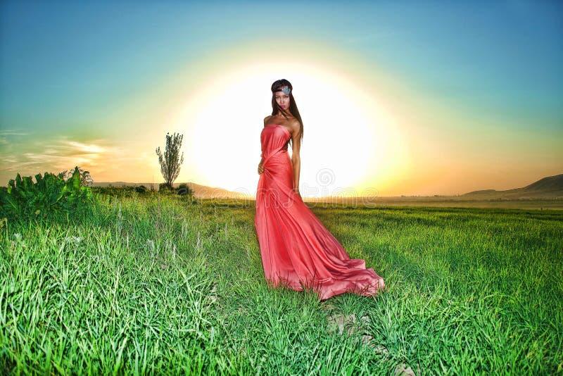 Modele no vestido vermelho que levanta no campo no por do sol imagem de stock