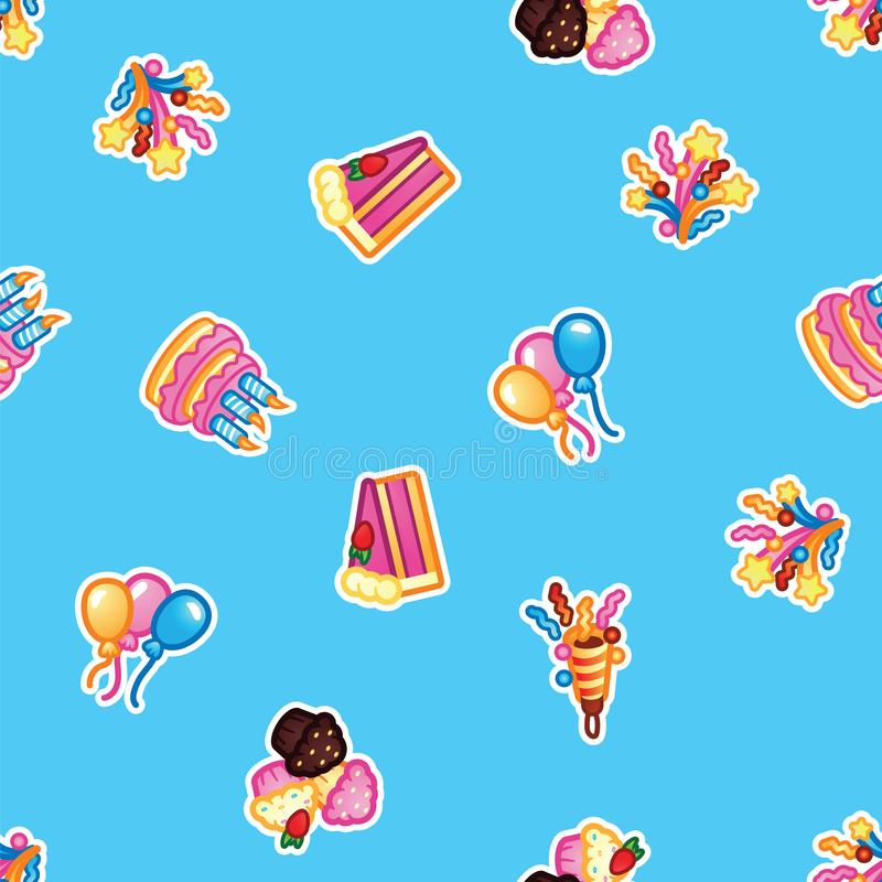 Modele o bolo de aniversário com velas para o partido da celebração, bolo, queques dos confeitos, balão colorido, festivo ilustração stock