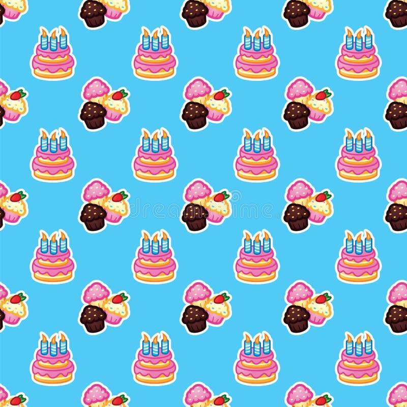 Modele o bolo de aniversário com velas para o partido da celebração, bolo, queques dos confeitos Evento, celebração, partido ilustração do vetor