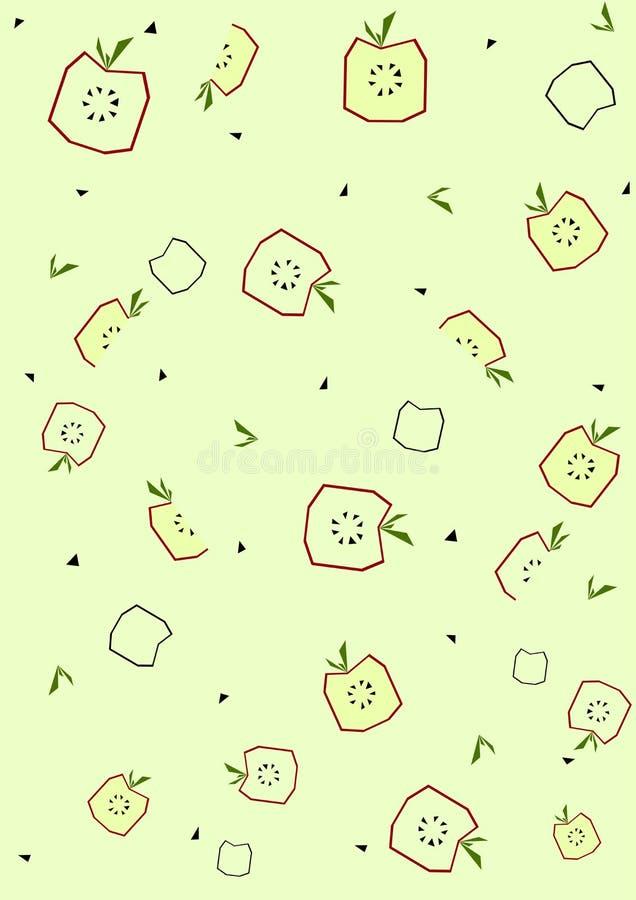 Modele o fundo com a maçã no estilo liso do verão de memphis Vetor ilustração royalty free