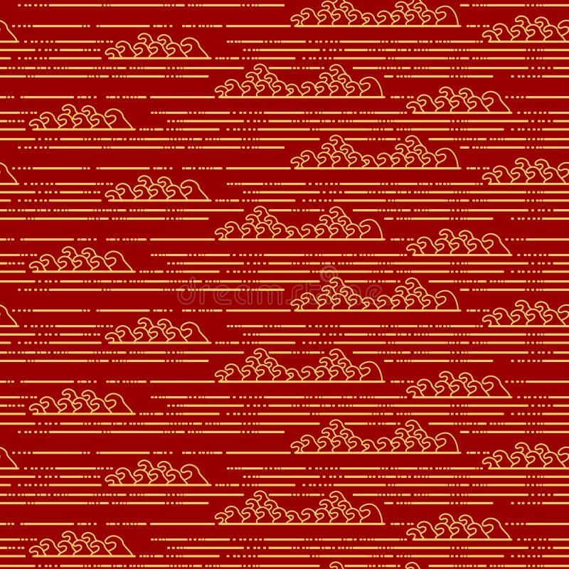 Modele o fundo oriental tradicional chinês sem emenda do ornamento, água dourada vermelha ilustração do vetor