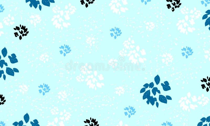 Modele o fundo sem emenda da folha, ou a luz do teste padrão - vintage azul ilustração stock