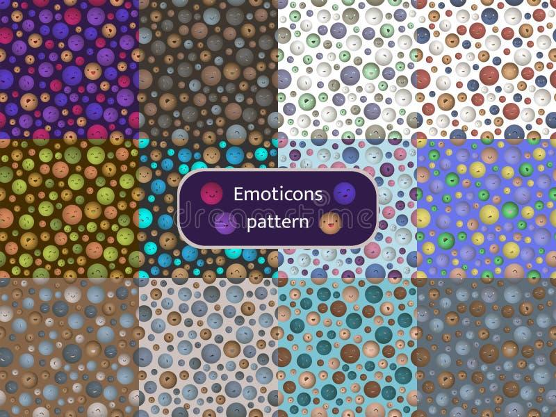 Modele o grupo 09 de testes padrões sem emenda com a imagem dos emoticons ilustração do vetor