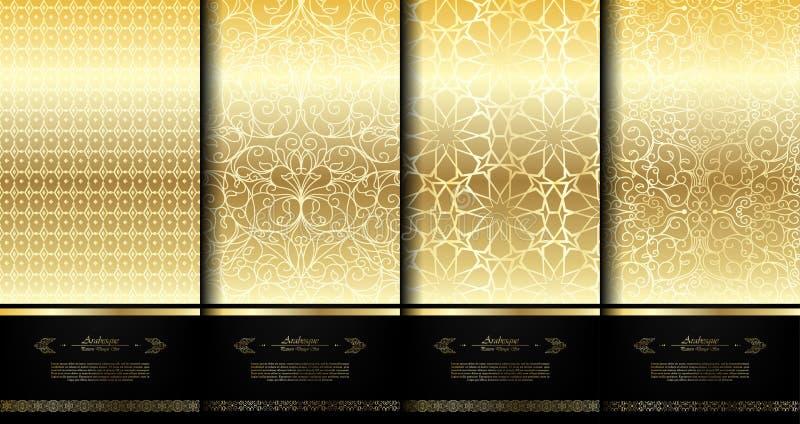 Modele o templat elegante do fundo do arabesque do ouro do elemento islâmico ilustração royalty free